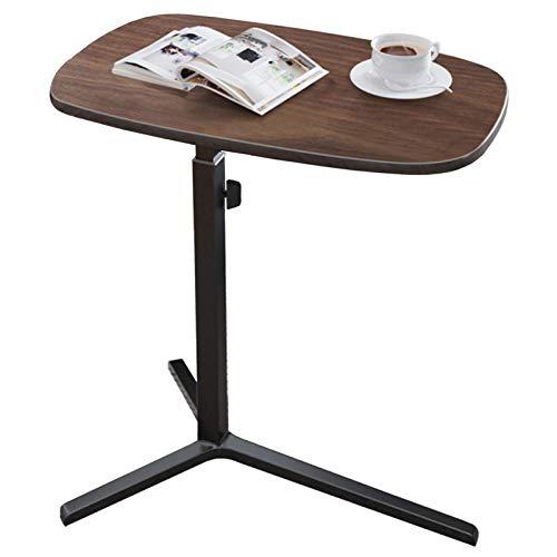 Table D'appoint Table D'extrémité/D'appoint en Bois et en Métal, Table à Collation à Hauteur Réglable pour Canapé et Côté Lit, Plateau en MDF avec Placage de Noyer, Support en Métal Noir, Charge 66