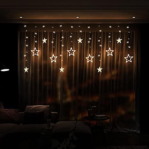 Luces de Cortina de Estrella y Luna, 100 LED Luces de Cadena de Estrella Cadena de Luz de Hadas Estrelladas 3.5M LED Luz Decorativa para EI Jardín de Bodas de Navidad