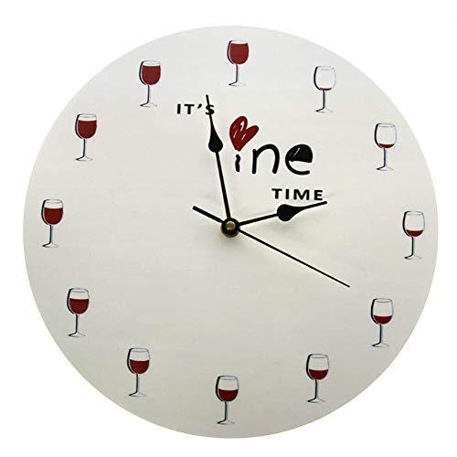 JJYM wandklok Het is wijntijd wandklok alcohol wijnglas decoratieve rode wijnklok klok jenever klok restaurant wijndrinker liefhebbers cadeau
