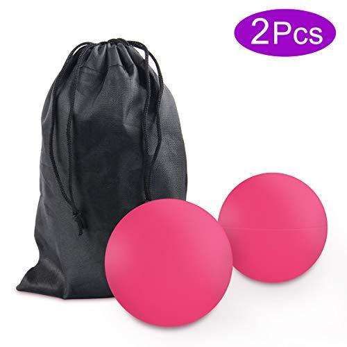 Massageball Set, JEVDES Lacrosse Ball Massage für Alle Muskelgruppen und Kleine Schwer Erreichbare Triggerpunkte, Trigger Point Therapie Massage Balls für Selbst-Massage Faszien(2 Pcs Rosa)