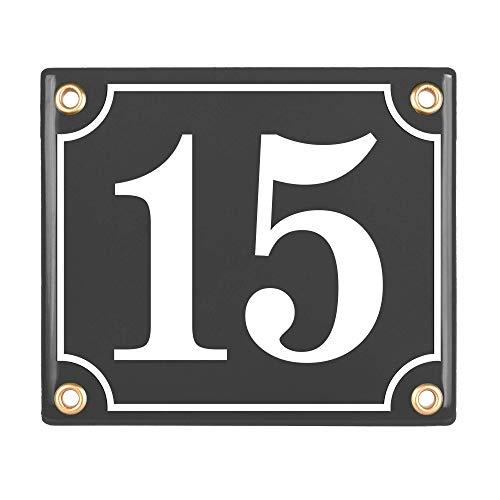 Sosenco Hausnummerschild Hausnummer - 12x14 cm - Keramik Emaille - Wetterfest - Personalisiert - Emailschild (Anthrazit)