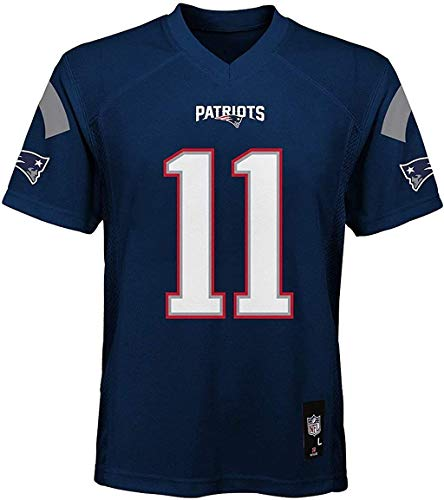 Outerstuff Julian Edelman NE Patriots NFL Boys Youth 8-20 Navy Home Mid-Tier Jersey (Youth Medium 10-12)