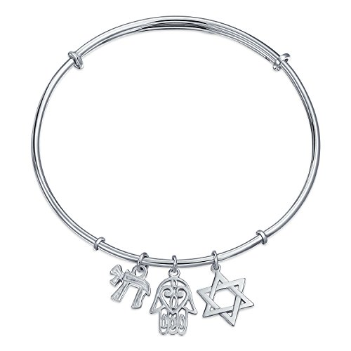 Jewish Judaic For Bat Mitzvah Star of David Hamsa Chai Dangle Multi Charms Cuff Bangle Bracelet For Women Teen CZ Accent .925 Sterling Silver Adjustable