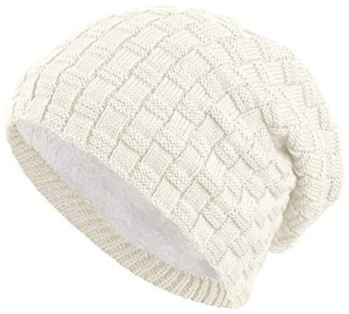 BALINCO Berretto Foderato Caldo con Pile Orsacchiotto | Cappello Invernale con Modello Intrecciato | Berretto di Taglia Unica per Le Donne e Gli Uomini (3A) (Bianco)