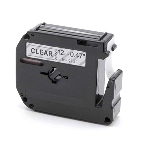 vhbw Schriftband Kassette 12mm schwarz auf transparent für Etiketten-Drucker Brother P-Touch 70HOT, 70SP, 70SR, 75, 80, 80SCCP, 85, 90, BB4, M95