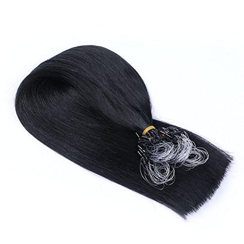 Micro-Ring / Loop Hair Extensions (#1 - SCHWARZ - 60 cm - 250 Strähnen - 1g) 100% Remy Echthaar Haarverlängerung Micro Ring Remy Qualität, ganz leicht einzusetzen - by Haar-Profi