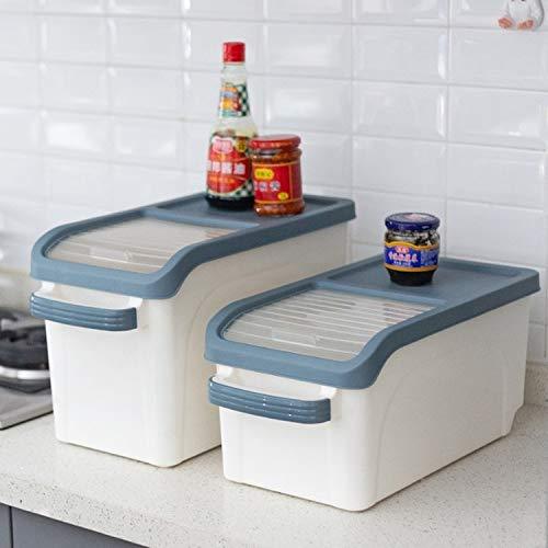 Caja de almacenamiento de arroz de cocina, con tapa, multifuncional, para almacenamiento de alimentos, a prueba de insectos y humedad, tamaño pequeño (10 kg) 44 x 22 x 20 cm PingGongHuaKeJiYouXianGong