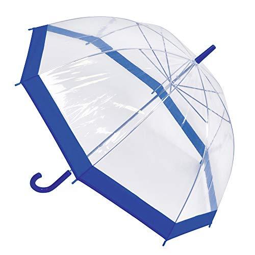 OCTAVE Damen Regenschirm, leicht, transparent, kuppelförmig, mit farbigem Rand, Blauer Rand (Transparent) - BTWG1306-BE
