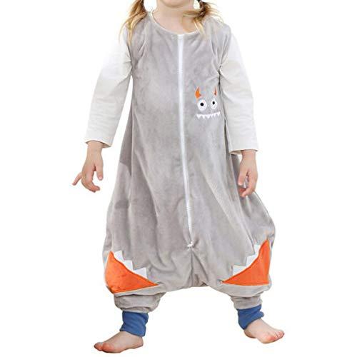 mama stadt Saco de Dormir de Animales para Bebés con Pies, Pijama Unisex Sin Mangas para Niñas Niños Pijama de Franela de Una Pieza 4 Estaciones para 1-2 años, Monstruo Gris