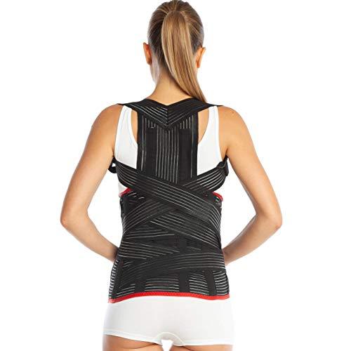 Corrector de postura, corrector espalda ortopédica de grado médico, tallas pequeña, mediana, grande, XL y XXL. Apoyo inferior y superior de la espalda (XL (100-110 cm), negro)