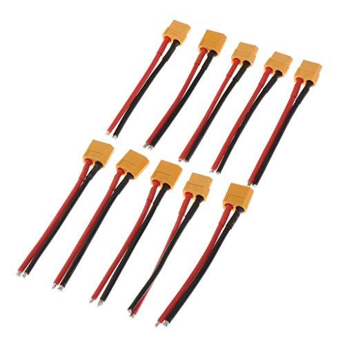 120mm Silicona Suave 14AWG XT60 Macho Hembra Conector Banana Adaptador Cable de Enchufe para Controlador de Batería RC Lipo Piezas de Dron DIY - Multicolor, Conector Macho de 5 Piezas con Cable