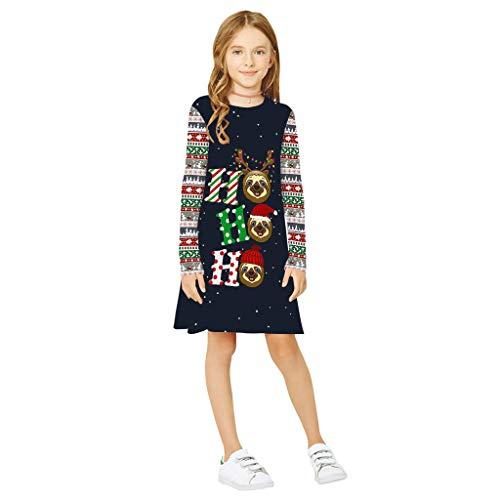 Patifia Jugendlich Kinder Mädchen Langarm Weihnachten Kleid 3D Karikatur Weihnachtsdruck Kleider Kleidung Freizeit Mode T-Shirt Tuniken Kleid O-Ausschnitt Lose Party Prinzessin Kleid