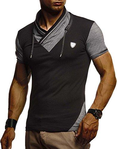Leif Nelson Herren Sommer T-Shirt Stehkragen Slim Fit Casual Baumwolle-Anteil Cooles weißes schwarzes Männer Kurzarm-T-Shirt Hoodie-Sweatshirt-Longsleeve lang LN805 Schwarz Large