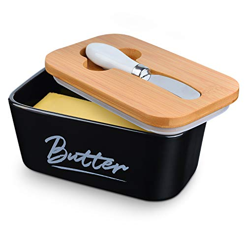 Ceramic Butter Dish with Bamboo Lid for Countertop,Large 22oz Butter Keeper with Knife,Black Porcelain Airtight Covered Butter Holder and Container,perfect for East West Coast Butter Fridge Storage
