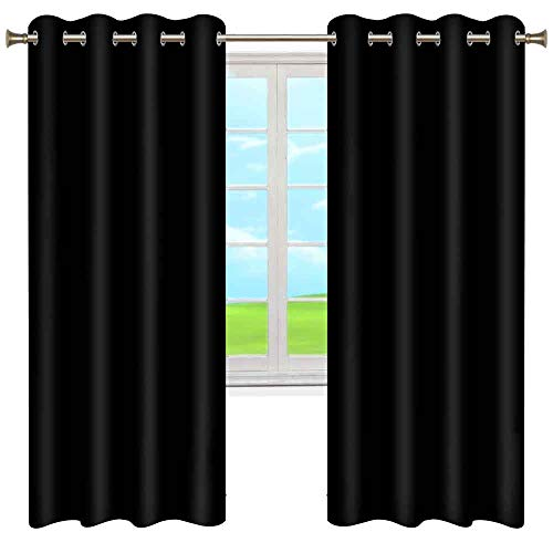 Thermal Insulated Blackout Curtains, Thermal Insulated Vertical Blind Window Treatment Drapes Durable Grommet Curtain for Bedroom Home, Set of 2 Curtain Panels (Black, 52' W x 84' L)