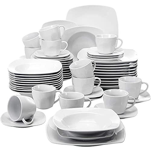 YWSZJ Conjunto de vajillas de la Cena de Porcelana de 60 Piezas Cena de la Cena Placas de Postre Cúpulas y platillos Establecer Servicio para 12 Persona
