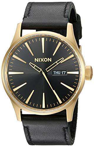 Nixon Sentry Leather A105513-00. Reloj de Hombre Dorado y Negro (42 mm Oro/Negro Esfera del Reloj / 23 mm Correa de Cuero Negra)