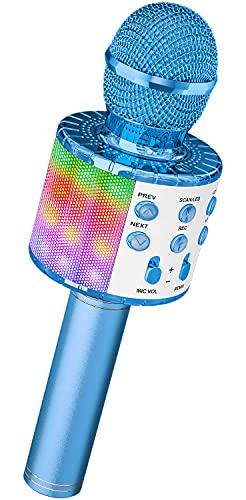 Mikrofon für Karaoke, Ankuka Bluetooth Mikrophon mit Lautsprecher und Dynamisches Licht, Drahtloses Mikrofon Karaoke für Kinder Gesang, Aufnahme, Home Party, Kompatibel mit Android/iOS/PC, Blau