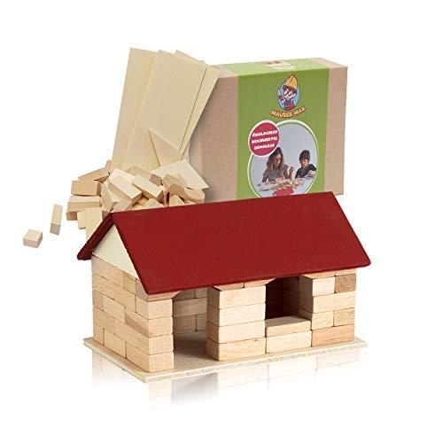 Maurer Max GARTENHÄUSCHEN Bausatz mit Holzleim Holzspielzeug Bauklötze Lernspielzeug Konstruktionsspielzeug Holzklötze…