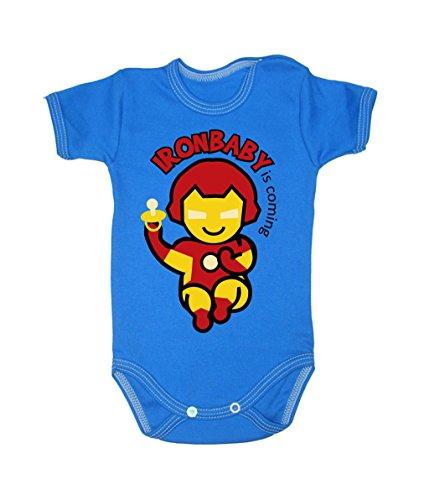 Couleur Mode Ironman bodies bébé 0–24 mois bleu 9-12 months, 80 cm
