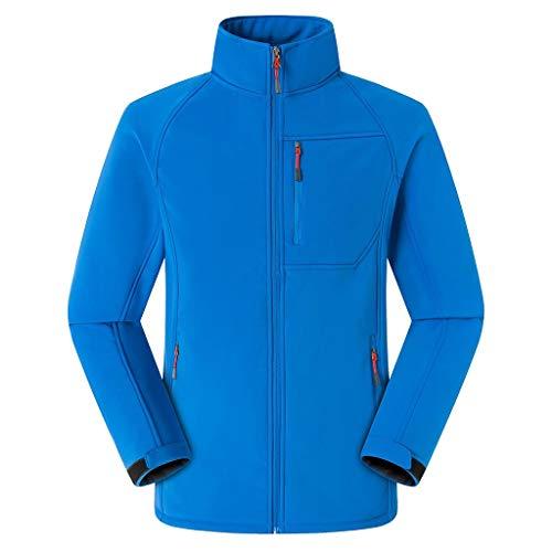 ZHANSANFM Jacken Unisex Fleece Jacke Abgesteppte Bomberjacke Unifarben Warme Zipper Softshelljacke Winddicht Wasserdicht Atmungsaktiv...