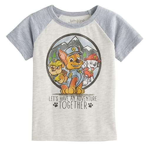 Jumping Beans Toddler Boys 2T-5T Paw Patrol Chase Rubble & Marshall Short-Sleeve Tee 3T Oatmeal Heather