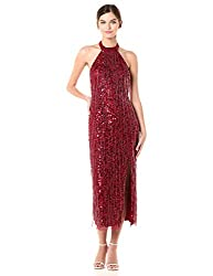 Cranberry Beaded Halter Ballet Dress