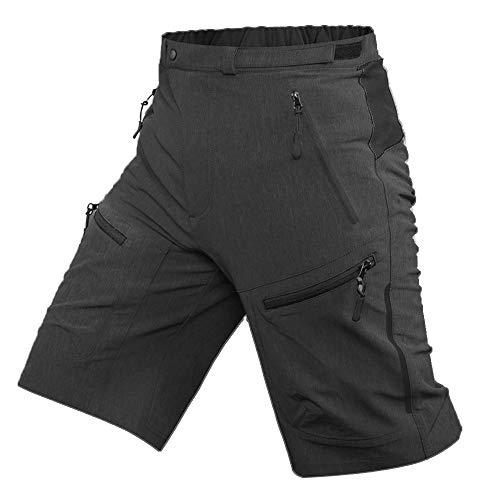 ALLY MTB Hose Herren Radhose, Wasserabweisend Mountainbike Kurz, Outdoor Sport Fahrradhose Herren Shorts (Dunkelgrau, 2XL(Taille:37