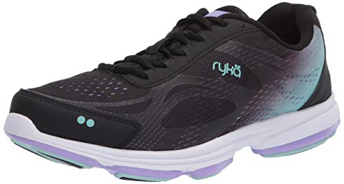 RYKA Women's Devotion Plus 2 Walking Shoe, Black/Purple, 6.5 Wide