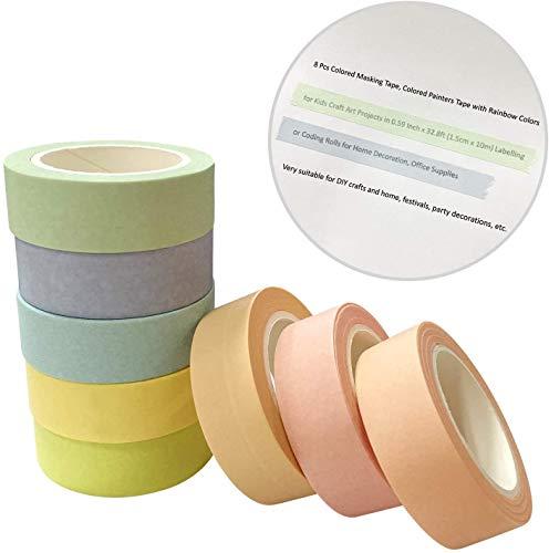 8 Rollen Washi Masking Tape Rainbow Washi Tape Set Regenbogen Klebeband Dekorative DIY Handwerk 15mm x 10m