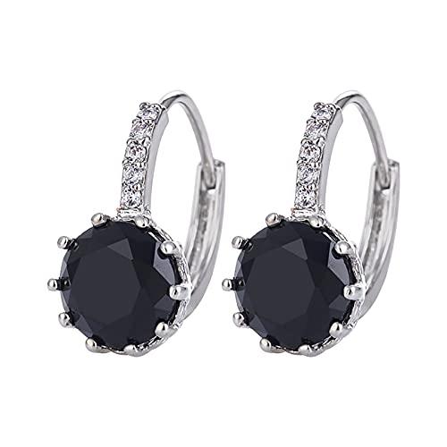 Pendientes de plata con circonio cúbico para mujer – Pendientes de aro brillantes joyas de diseño simple, pendientes de cristal, regalo para las mujeres madres niñas, novias (C)