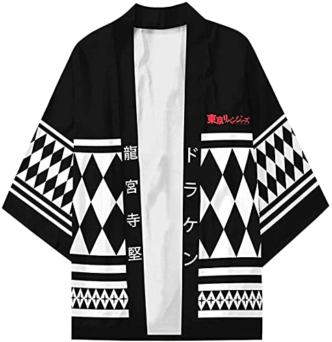 Capa de anime Tokyo Revengers Coat Cape, Ryuguji Ken Cosplay Disfraz negro Cool Coat Jacket Tops Uniforme Abrigo Halloween Carnaval Cabo para Mujeres Hombres (AD, M)