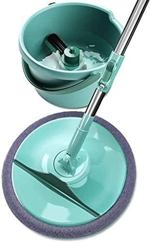 xinwan Spinning Mop Bucket Diseño Brillante Mango de Acero Inoxidable, trifatas de Giro con 2 Cabezas de mop para la Limpieza del Piso de la Cocina del hogar