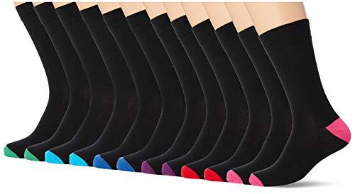 FM London - Pack de 12 calcetines unisex supersuaves hasta la pantorrilla, Heel and Tone, 9 Regular