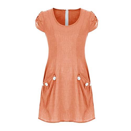 Elegante Kleider Damen Kleid Cocktailkleider Ronamick Frauen Casual solide Geraffte Taschen O-Ausschnitt tägliche zugeknöpft-Dekor Etuikleider(XXL, Orange)