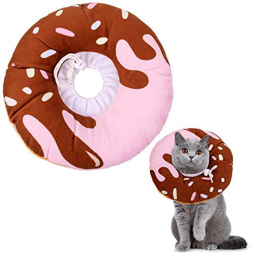 Xinzistar Halskrause Katzen Halsband Soft Weich Katze Schutzkragen Anti Biss Safety Einstellbarer Schützender Kragen für Haustiere Katzen Hunde Welpen Kätzchen (Schokoladen Donut, M)