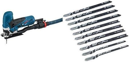 Bosch Professional GST 90 E - Sierra de calar (650 W, 500 - 3100 cpm, profundidad de corte 90 mm, en maletín) + Professional 2607010629 Hojas de Sierra de Calar, Set de 10 Piezas