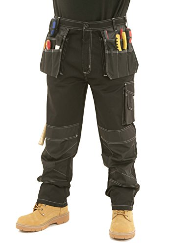 SITE KING Mens Heavy Duty Cargo Holster Pocket Work Trousers Contrast...