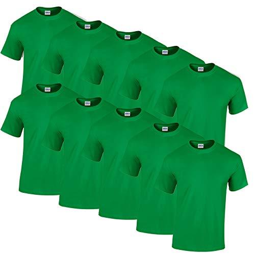 Gildan 10 T Shirts Heavy Cotton M L XL XXL Diverse Farben auswählbar (L, Irish Green)