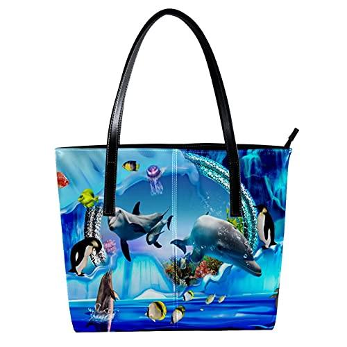 LORVIES Delfin-Aquarium, Gelee, Tasche, Umhängetasche, PU-Leder, Handtasche für Damen