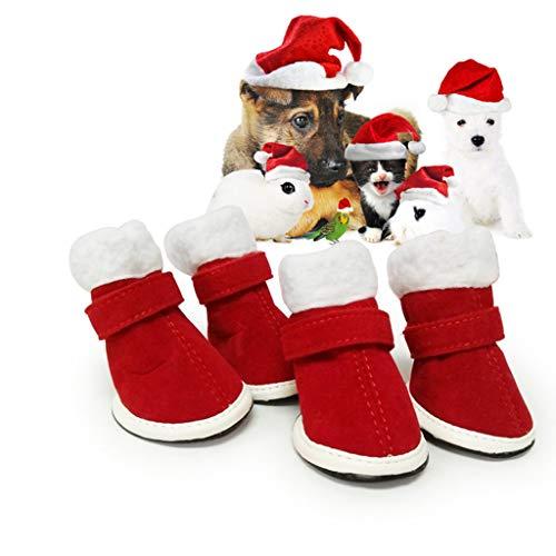 Fahooj pfotenschuh,Plüsch&Gummi Winter Weihnachten Hundeschuhe mit rutschfeste Sohle und Wasserdichter Hochwertiger für Klein und Mittel Hunde (S, Rot)