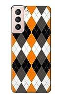JP342121G 黒 オレンジ 白 アーガイルプラッド Black Orange White Argyle Plaid Samsung Galaxy S21 5G ケース