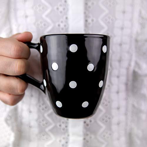 City to Cottage Black and White | Lunares | Diseñador hecho a mano | cerámica única 10oz/300ml | Café de chocolate caliente, taza de té con asa grande | regalo