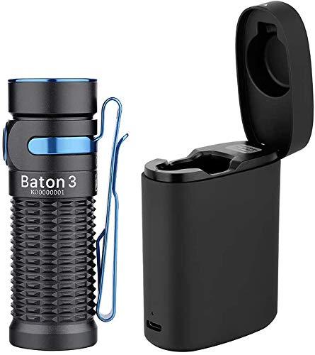 OLIGHT Baton 3 Kit LED Linterna Alta Potencia 1200 Lúmenes,166 Meters, 6 Modos de Luz Impermeable Linterna Recargable Blanco Frío, Luz Portátil con Caja de Carga Inalámbrica,Negro
