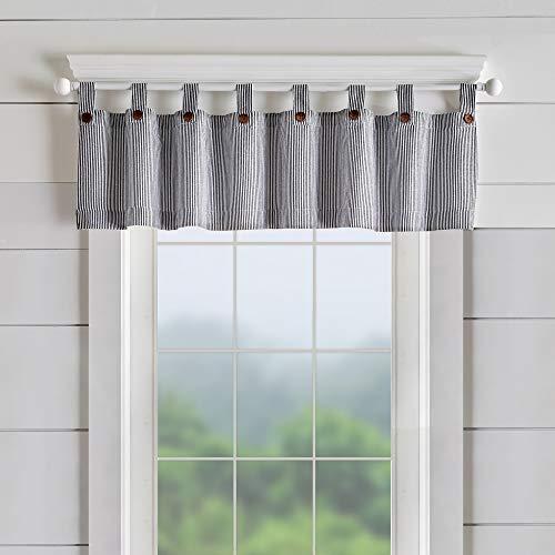 "Elrene Home Fashions Tucker Ticking Stripe Window Curtain Kitchen Valance, 60"" W x 15"" L (1, Black"