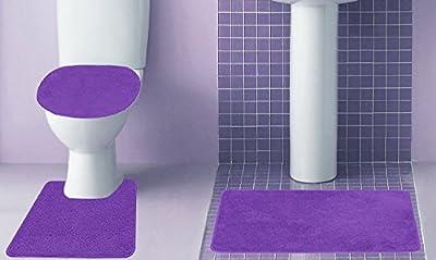 Empire Furniture USA 3-Piece Quinn Solid Bathroom Accessory Set Bath Mat Contour Rug Toilet Lid Cover - Purple