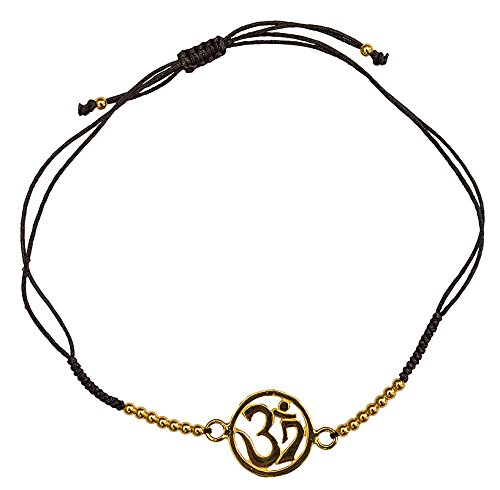 Pulsera Om de plata 925 chapada en oro con 16 perlas de plata y cordón ajustable de algodón de alta calidad, elegante y espiritual, perfecta para cualquier ocasión.