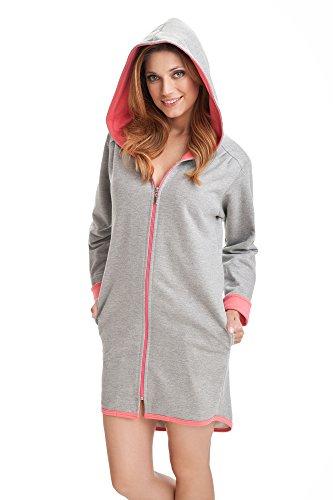 DOROTA - Albornoz de algodón con bolsillos, cremallera y capucha Salmón gris. 40