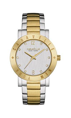 Caravelle New York Oro Boyfriend–Reloj de Cuarzo para Mujer con Plata Esfera analógica Pantalla y Dos Tonos Pulsera Chapado en Oro de Acero Inoxidable 45l151