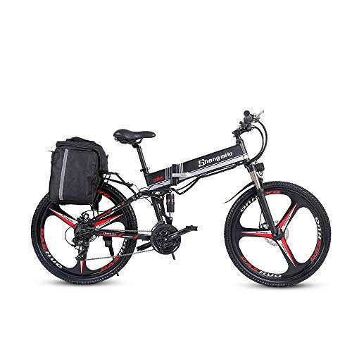 Shengmilo M80 250W E-Bike E-Bike 26-Zoll-E-Bike für Herren und Damen E-Bike S-h-i-m-a-n-o 21-Fach Beach Cruiser Herren Sport Mountainbike Lithium-Batterie (schwarz)